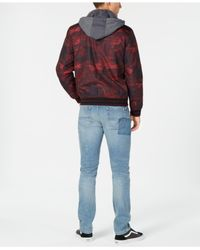American Rag - Red Tonal Camouflage Hooded Bomber Jacket, Created For Macy's for Men - Lyst