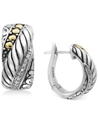 Effy Collection Metallic Diamond Accent Hoop Earrings In Sterling Silver & 18k Gold