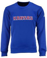 Adidas Originals Blue Men's Kansas Jayhawks Mark My Words Sweatshirt for men
