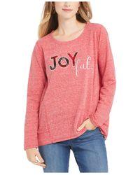 Style & Co. Pink Joyful Graphic Sweatshirt, Created For Macy