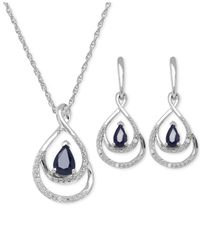 Macy's - Blue Sapphire (1-2/3 Ct. T.w.) And Diamond Accent Jewelry Set In Sterling Silver - Lyst