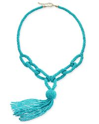"INC International Concepts - Blue I.n.c. Gold-tone Beaded Loop Lariat Necklace, 38"" + 3"" Extender, Created For Macy's - Lyst"