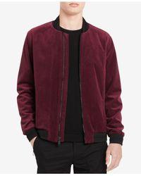 Calvin Klein Multicolor Men's Textured Velvet Bomber Jacket for men
