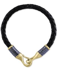 Effy Collection - Blue Men's Black Leather Woven Bracelet In Gray Rhodium-plated And 18k Gold-plated Sterling Silver for Men - Lyst