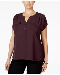 INC International Concepts - Purple I.n.c. Plus Size Mixed-media Utility Shirt, Created For Macy's - Lyst