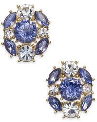 Charter Club - Metallic Gold-tone Blue & Clear Crystal Stud Earrings - Lyst