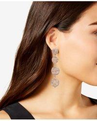 INC International Concepts Metallic Rose Gold-tone Beaded Orb Linear Drop Earrings