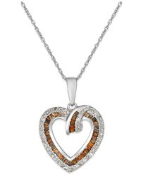 Macy's - White And Red Diamond Heart Pendant Necklace (3/8 Ct. T.w.) In 10k White Gold - Lyst