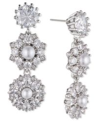 Marchesa Multicolor Silver-tone Crystal & Imitation Pearl Linear Drop Earrings, Created For Macy's