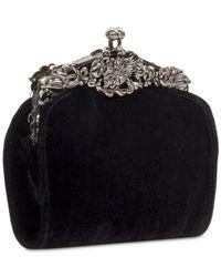 Patricia Nash Black Velvet Rosaria Frame Clutch