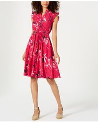 Charter Club Pink Petite Floral-print A-line Dress, Created For Macy