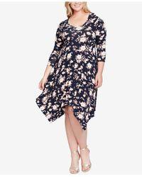Jessica Simpson - Blue Trendy Plus Size Kaelin Handkerchief-hem Dress - Lyst