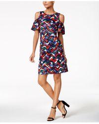 Nine West - Blue Printed Cold-shoulder Dress - Lyst