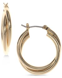 Nine West - Metallic Silver-tone Twisted Hoop Earrings - Lyst