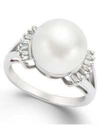 Macy's Metallic Cultured Freshwater Pearl (11mm) And Diamond (1/5 Ct. T.w.) Ring In 14k White Gold