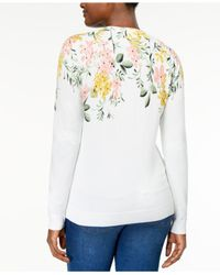 Karen Scott - White Printed Cardigan, Created For Macy's - Lyst