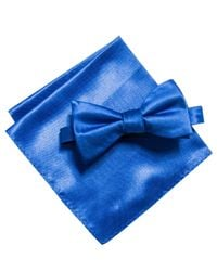 Alfani Blue Satin Solid Bow Tie & Pocket Square Set, Created For Macy's for men