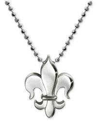 Alex Woo Metallic Little Faith Fleur De Lis Pendant Necklace In Sterling Silver
