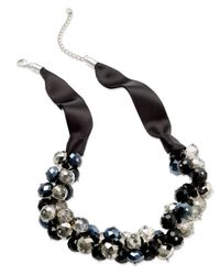 INC International Concepts - Black Necklace, Silver-tone Jet Bead Cluster Frontal Necklace - Lyst