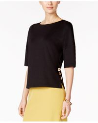 Kasper   Black Plus Size Button-side Top   Lyst