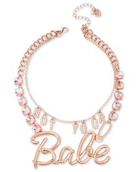 "Betsey Johnson - Pink Rose Gold-tone Crystal ""not Your Babe"" Convertible Statement Necklace - Lyst"