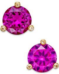 Kate Spade Purple Gold-tone Mini Round Stud Earrings