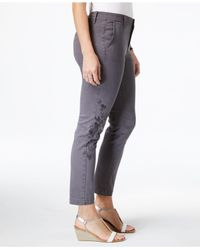 Style & Co. - Gray Embroidered Skinny Pants, Created For Macy's - Lyst