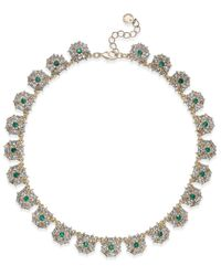 Charter Club - Metallic Gold-tone Blue & Clear Crystal Necklace - Lyst