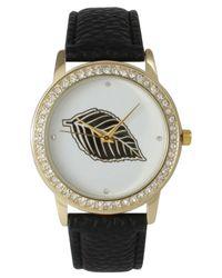 Olivia Pratt Black Rhinestone Bezel And Leaf Leather Strap Watch