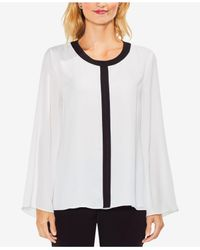 Vince Camuto White Contrast Trim Bell Sleeve Blouse
