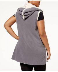 Hue Multicolor Plus Size Sleeveless Hooded Robe