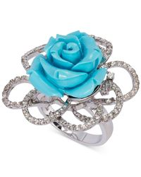 Le Vian - Metallic Manufactured Turquoise (10 Ct. T.w.) And White Topaz (3/4 Ct. T.w.) Rose Ring In Sterling Silver - Lyst
