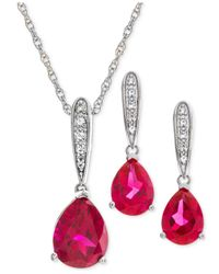 Macy's Metallic Lab Created Ruby (3-1/4 Ct. T.w.) & White Sapphire (1/5 Ct. T.w.) Pendant Necklace & Drop Earrings In Sterling Silver