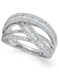 Effy Collection | Metallic Classique By Effy Diamond Crossover Ring In 14k White Gold (1 Ct. T.w.) | Lyst