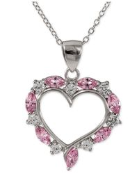 Giani Bernini - Metallic Pink And Clear Cubic Zirconia Heart Pendant Necklace In Sterling Silver - Lyst