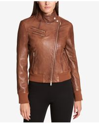 DKNY - Brown Leather Knit-trim Bomber Jacket - Lyst