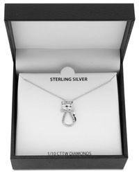 "Macy's Metallic 18"" Diamond Cat Pendant Necklace (1/10 Ct. T.w.) In Sterling Silver"