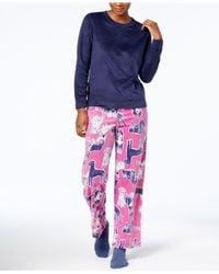 Hue Blue Sueded Fleece Top & Printed Pants With Socks Pajama Set