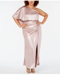 Adrianna Papell Multicolor Plus Size One-shoulder Metallic Gown