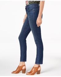Style & Co. Blue Petite Slim Straight-leg Ankle Jeans, Created For Macy's