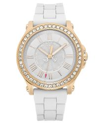 Juicy Couture | Metallic Watch, Women's Pedigree White Silicone Strap 38mm 1901052 | Lyst