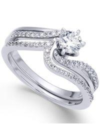 Macy's Metallic Diamond Swirl Interlocking Bridal Set (5/8 Ct. T.w.) In 14k White Gold