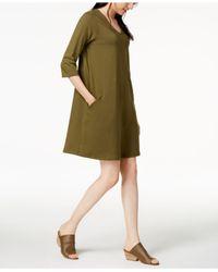 Eileen Fisher - Green Organic Cotton 3/4-sleeve A-line Dress, Regular & Petite - Lyst