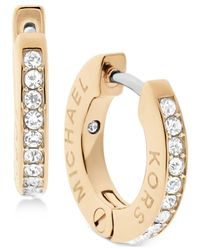 Michael Kors - Metallic Pavé Engraved Hoop Earrings - Lyst
