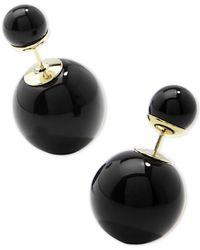Zenzii Black Gold-tone Double Ball Front-and-back Earrings