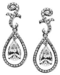 Arabella Metallic Sterling Silver Earrings, Swarovski Zirconia Teardrop Earrings (9 Ct. T.w.)