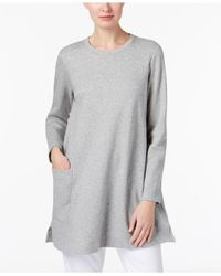 Eileen Fisher - Gray Organic Cotton Patch-pocket Tunic - Lyst