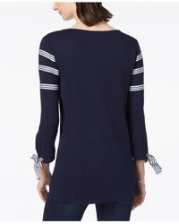 Charter Club Blue Ribbon-trim Tie-sleeve Top, Created For Macy's