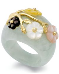 Macy's | Green Jade Or Onyx And Multicolored Mother Of Pearl (8mm) Flower Ring In 14k Gold Over Sterling Silver | Lyst
