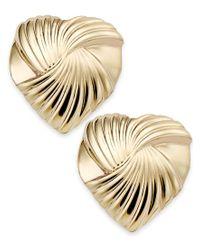 Macy's | Metallic 10k Gold Earrings, Heart Stud Earrings | Lyst